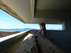 The author, taking in the spectacular view from a WW2 fort